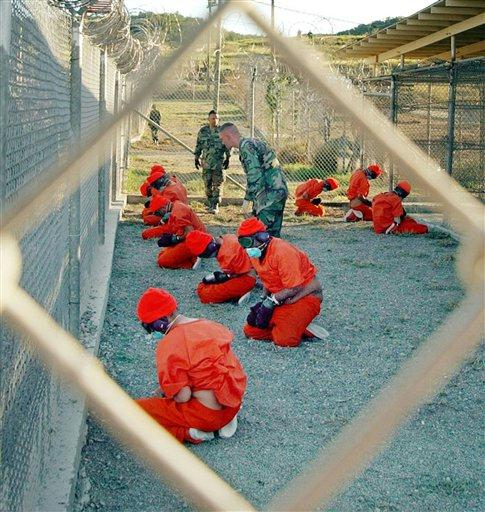 """Prisoners are tortured at Gitmo. They are made to wear sensory deprivation goggles, headphones and breathing restriction masks. Their hands are bound and cuffed. They are forced to kneel for hours. Sensory deprivation and """"self inflicted pain"""" are among the most devastating forms of torture the CIA has devised."""