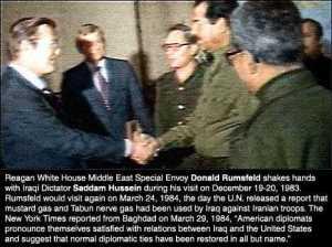 Donald Rumsfeld shaking hands with Saddam Hussein